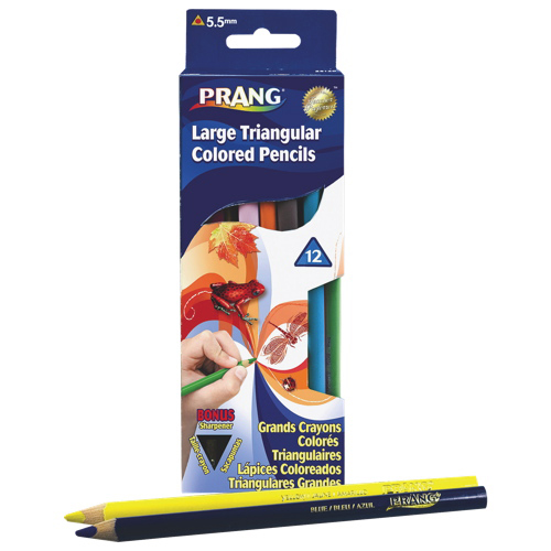 Dixon Prang 5.5mm Large Triangular Coloured Pencis - 12 Pack - Assorted Colours