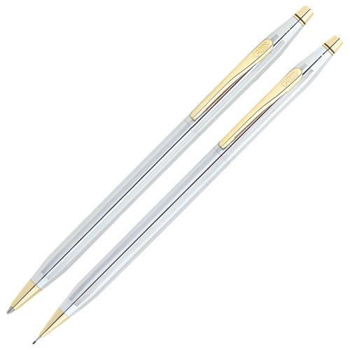 Parure de crayon et porte-mine série Classic Century de Cross - Chromé-doré