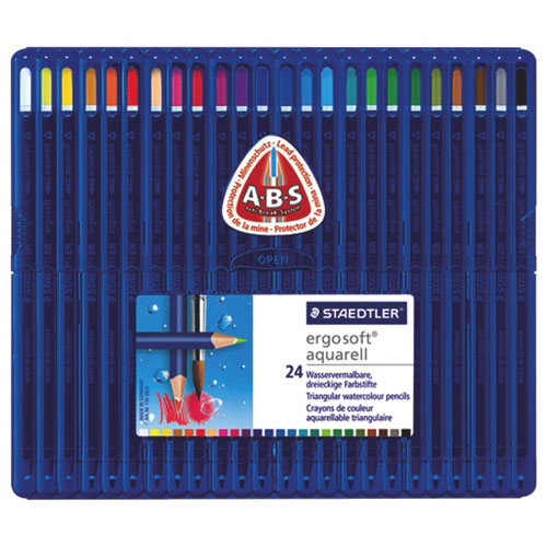 STAEDTLER Ergosoft 3mm Watercolour Coloured Pencil - 24 Pack - Assorted Colours