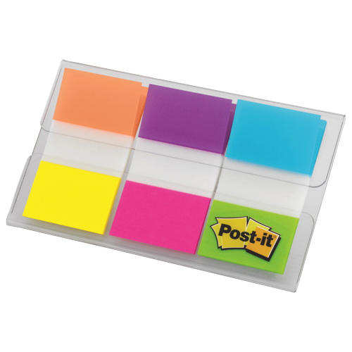 Post-It Flags Sticky Tabs with Dispenser - 60 Flags - Electric Glow