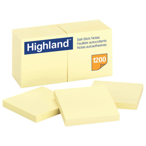 """Highland 3"""" x 3"""" Sticky Note Pad - 12 Pack - Yellow"""