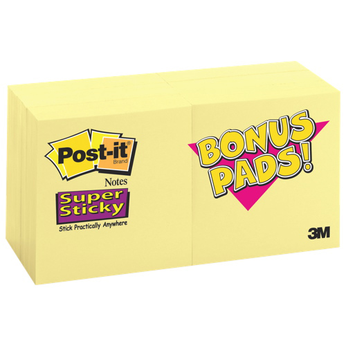 Post-It Notes Super Sticky Note Pad - 12 Pack - Canary Yellow
