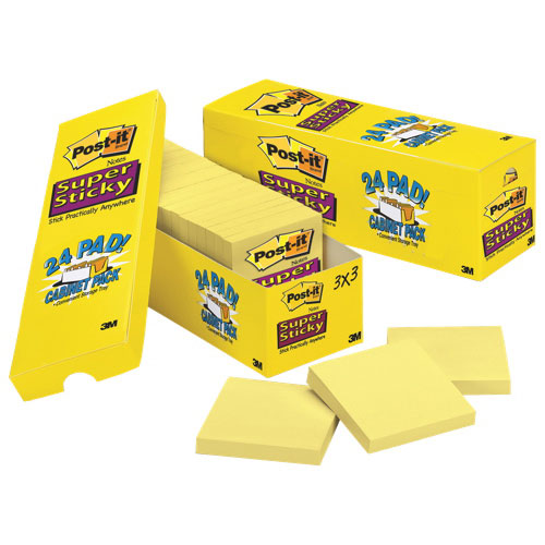 Post-It Notes Super Sticky Note Pad Cabinet Pack - 24 Pack - Canary Yellow