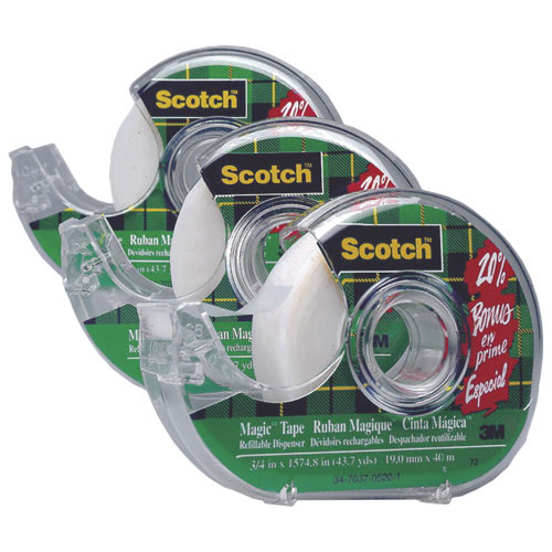 3M Scotch Invisible & Transparent Tape With Dispenser 3-Pack (MMM810D3)
