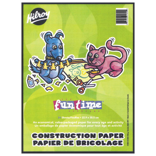 """Hilroy Fun Time 9"""" x 12"""" Lightweight Construction Paper Pad - 24 Sheets - Multi-Colour"""