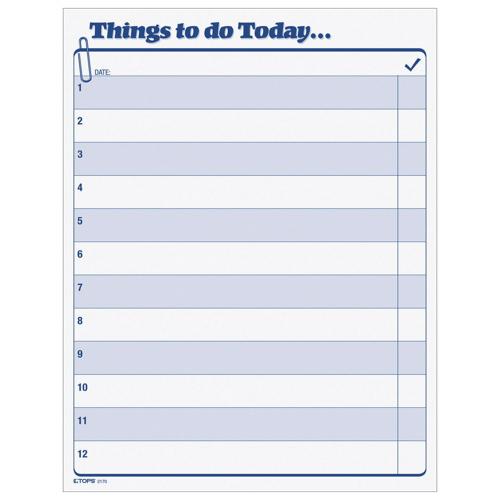 Carnet Things to Do Today de 8,5 x 11 po de Tops - 100 feuilles