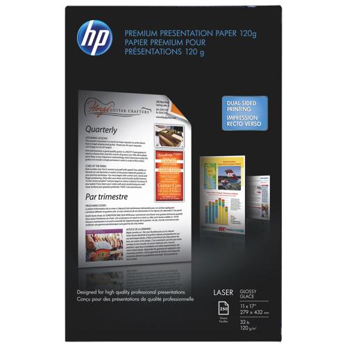 "HP 250-Sheet 11"" x 17"" Glossy Laser Paper - White"