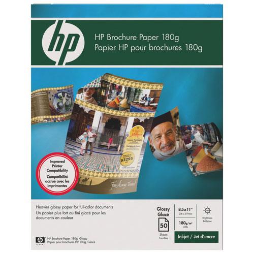 Papier à prospectus glacé de format lettre de HP pour impression à jet d'encre - 50 feuilles