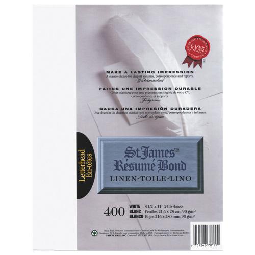 Papier pour curriculum vitae format lettre avec toile de First Base - Paquet de 400 - Blanc