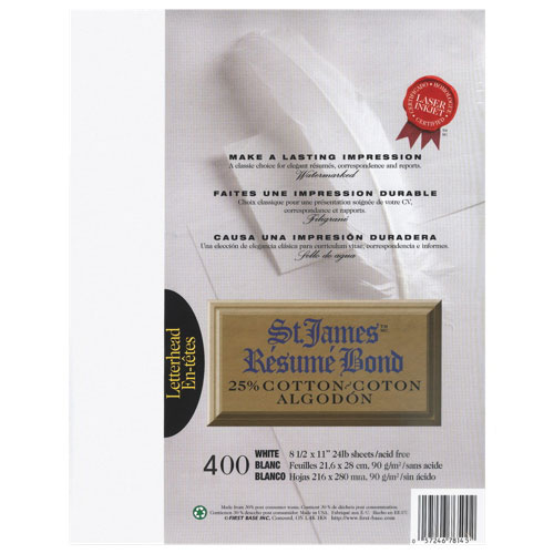 First Base 400-Pack Cotton Letter Bond Resume Paper - White