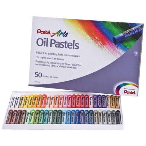 Pentel Arts Oil Pastels - 50 Pack - Assorted Colours