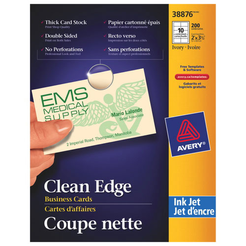Cartes professionnelles Clean Edge d'Avery (AVE38876) - Paquet de 200 - Ivoire