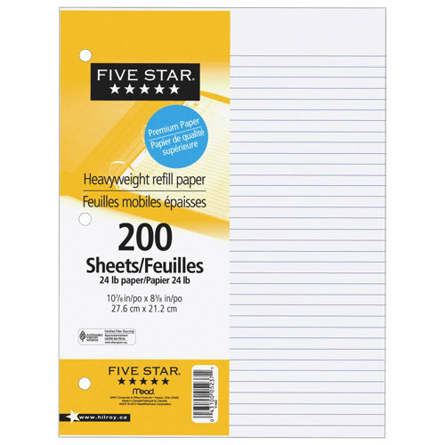 Five Star Heavyweight Ruled Refill Paper - 200 Sheets