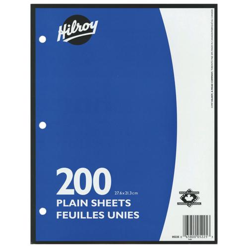 Recharge de papier non ligné 10,87 x 8,37 po 200 feuilles d'Hilroy