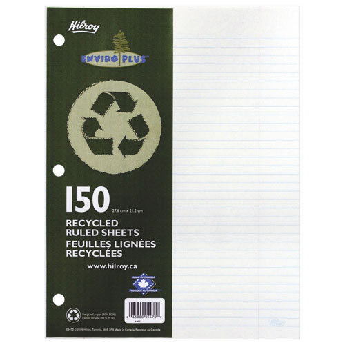 Hilroy Recycled Notebook Filler Paper - 150 Sheets