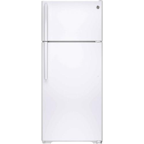 Réfrigérateur à congélateur en haut de 28 po et 17,5 pi3 de GE (GTE18GTHWW) - Blanc