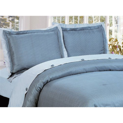 The St. Pierre Home Regent 300 Thread Count Cotton Duvet Cover Set - King - Silver Blue