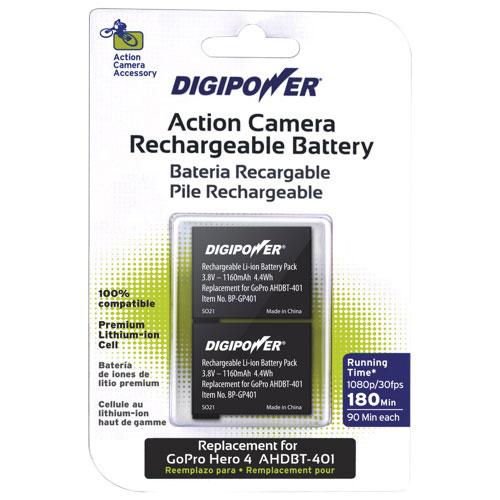 Ensemble de batteries de Digipower pour GoPro Hero 4 (BP-GP401-2)