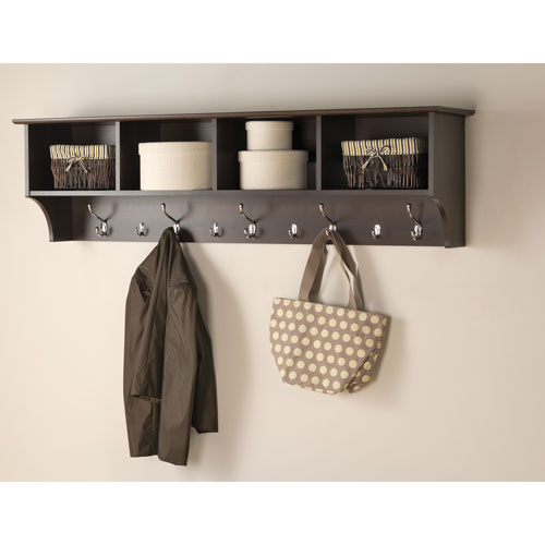 Prepac 40 Wide Hanging Entryway Shelf Espresso Wall Mounted Inspiration Entryway Shelf And Coat Rack