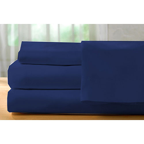 The St. Pierre Home Collection 400 Thread Count Egyptian Cotton Sheet Set - Single/Twin - Navy Blue