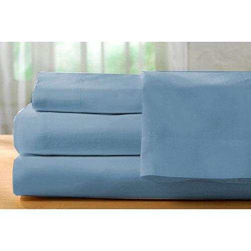 ensemble de draps en coton gyptien de contexture 400 de st pierre home lit simple denim. Black Bedroom Furniture Sets. Home Design Ideas