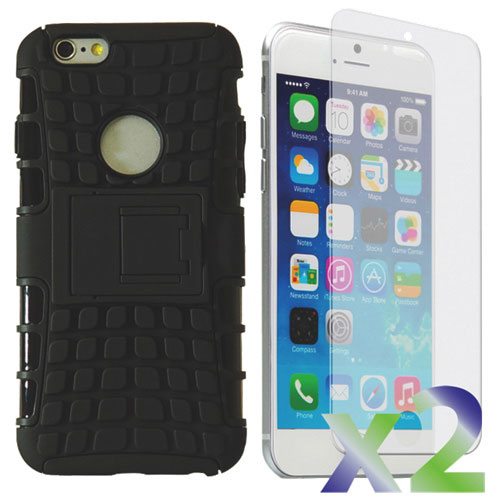 Exian Armour Stand iPhone 6 Fitted Hard Shell Case with Screen Protectors - Black