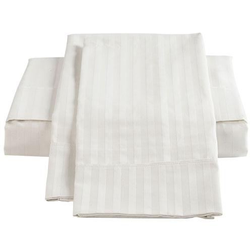 Ensemble de draps en coton égyptien de contexture 450 de The St. Pierre - Lit à une place - Blanc