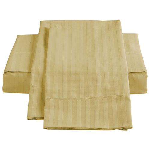 Ensemble de draps en coton égyptien de contexture 450 de The St. Pierre - Lit à une place - Paille