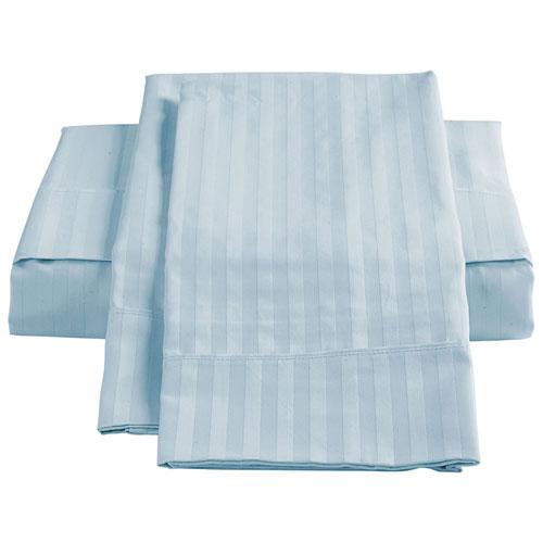 Ensemble de draps en coton égyptien de contexture 450 de St. Pierre - Lit à une place - Bleu glace