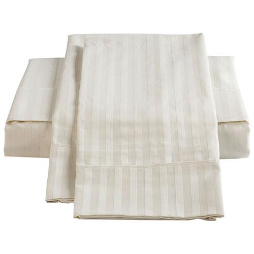 Ensemble de draps en coton égyptien de contexture 450 de The St. Pierre - Lit à une place - Ivoire