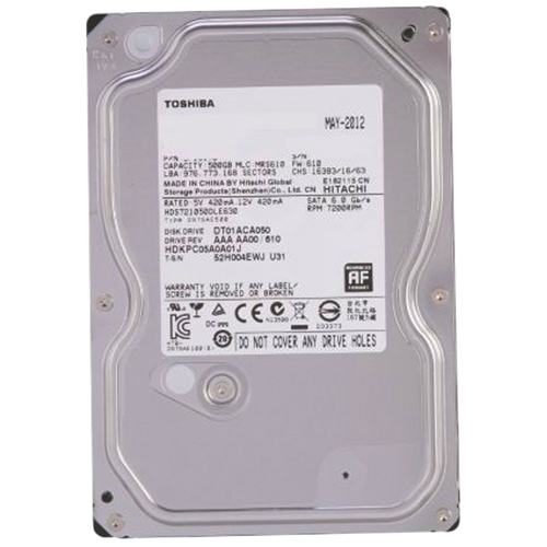 """Toshiba 500GB 3.5"""" 7200RPM SATA Internal Hard Drive (DT01ACA050)"""