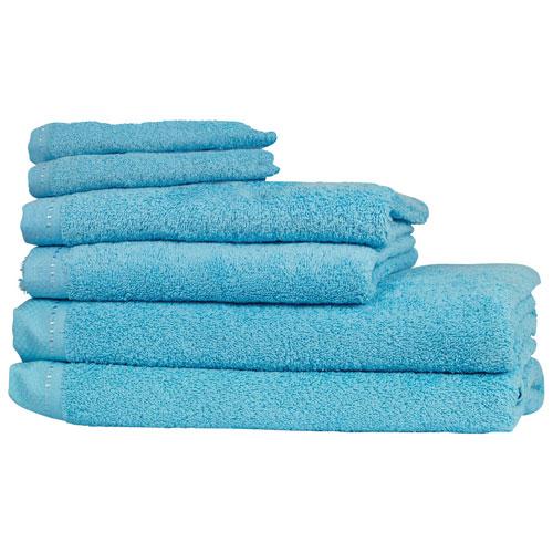St. Pierre Home Diamond Turkish Cotton 6-Piece Bathroom Towel Set - Mediterranean Blue