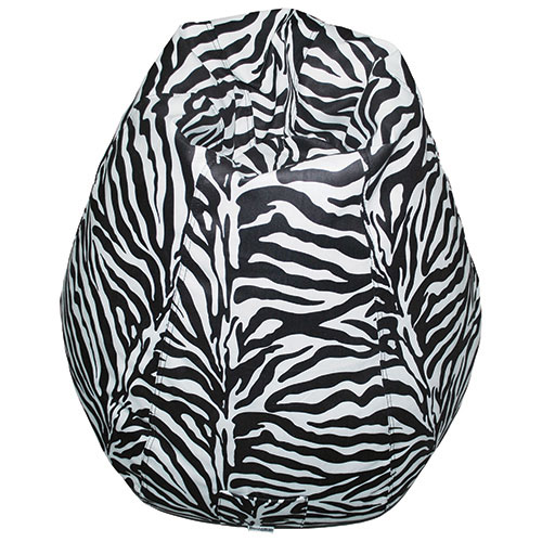 Contemporary Pear-Shaped Bean Bag Chair - Zebra
