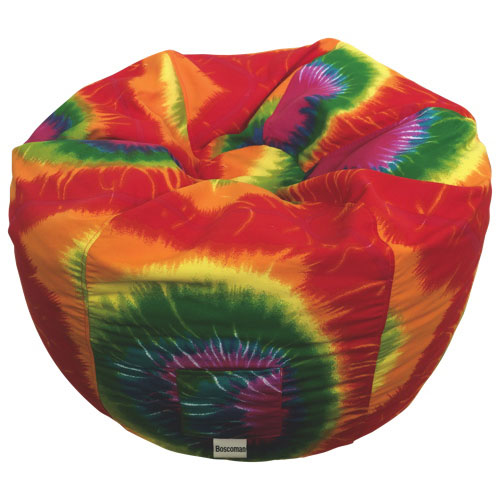 Contemporary Round Bean Bag Chair - Red Rainbow