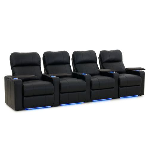Turbo 4-Seat Bonded Leather Power Recliner Home Theatre Seating - Black