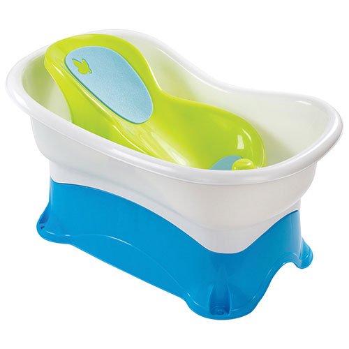 Summer Infant Right Height Bath Centre - Blue/White/Lime Green ...