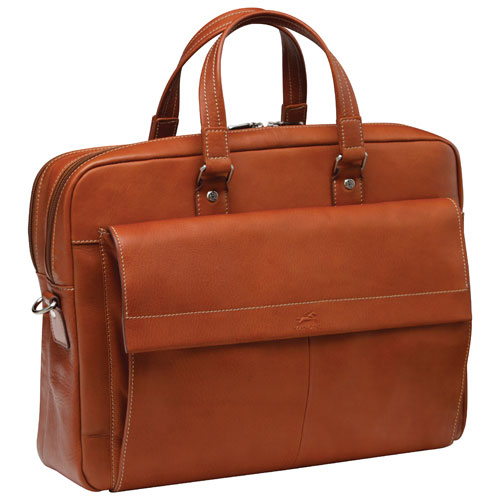 "Mancini Colombian Collection 17"" Double Compartment Laptop/Tablet Briefcase (98220-CG) - Cognac"