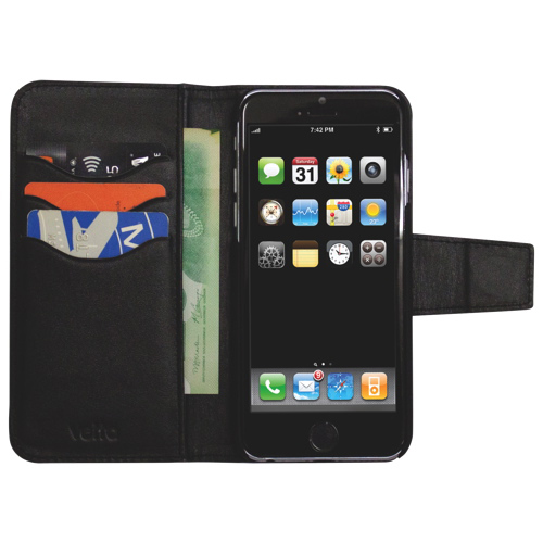 Vetta iPhone 6 Plus Leather Folio Case - Black