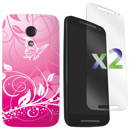 Exian Moto G 2nd Gen Case With Screen Protectors - Pink