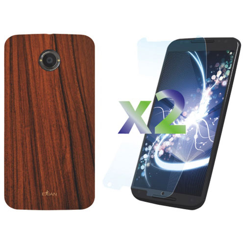 Exian Moto X 2nd Gen Case With Screen Protector - Brown