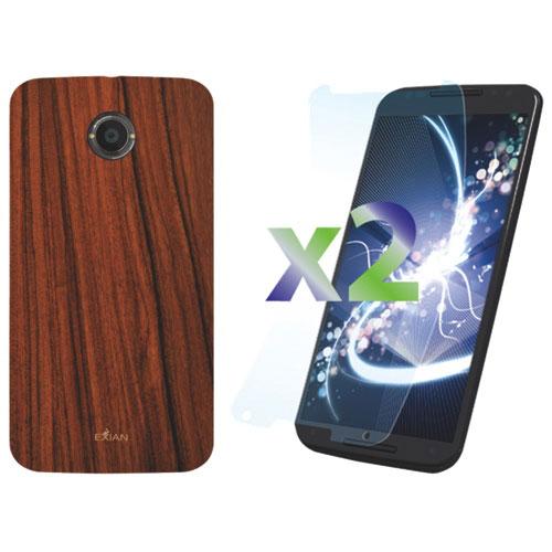 Étui d'Exian pour Moto X 2e génération avec protecteur d'écran - Brun