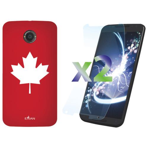 Étui d'Exian pour Moto X 2e génération avec protecteur d'écran - Rouge