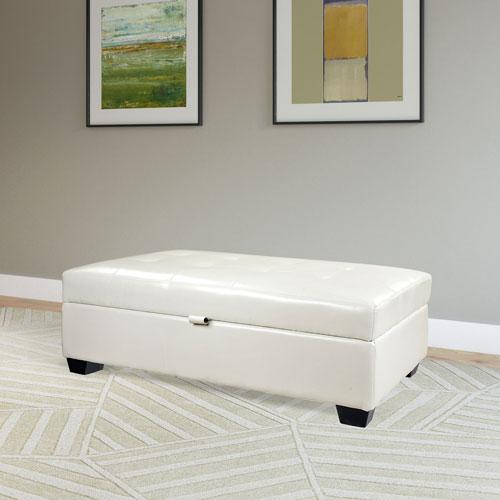 Antonio Bonded Leather Storage Ottoman - White