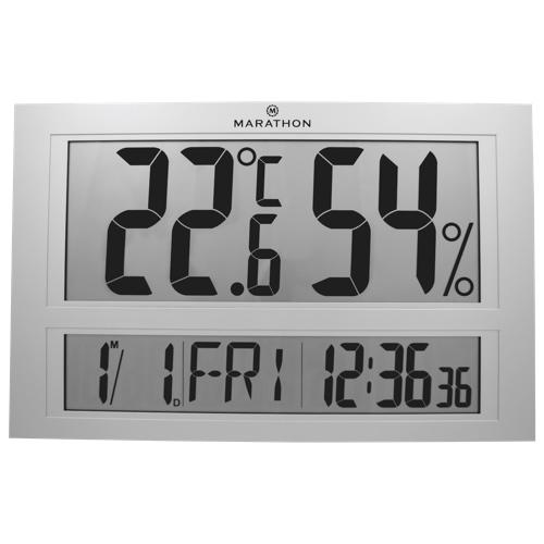 Marathon Thermo-Hygrometer Digital Clock (CL030040) - Silver