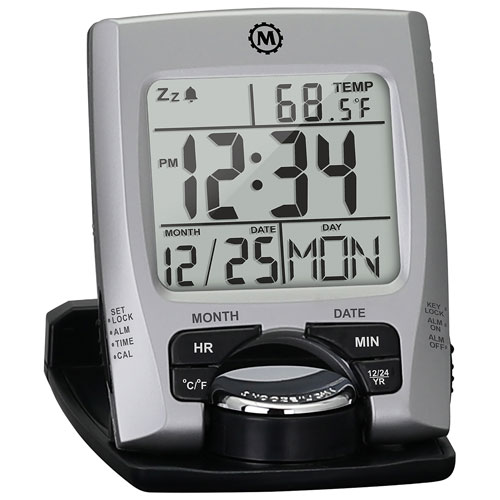 Marathon Travel Digital Alarm Clock (CL030023) - Silver