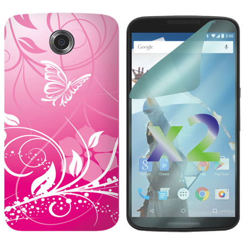 Exian Butterfly Nexus 6 Fitted Soft Shell Case - Pink
