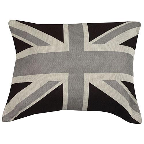 Coussin décoratif Union Jack de la collection Cities of the World d'Urban Loft - Noir-blanc