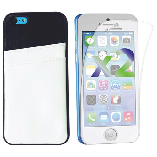 Étui rigide ajusté pour iPhone 5c d'Exian avec fentes pour cartes - Blanc