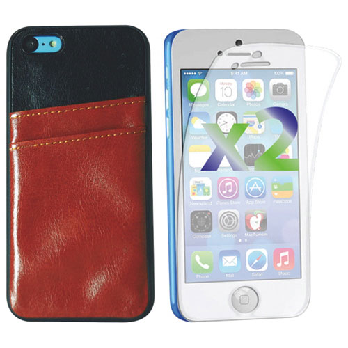 Exian iPhone 5c Fitted Hard Shell Case with Card Slots - Brown