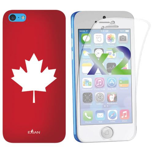 Étui souple ajusté Maple Leaf d'Exian pour iPhone 5c - Rouge